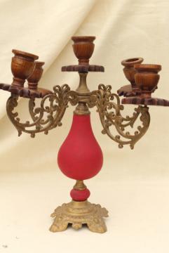 vintage carved wood & ornate brass candelabra, gypsy bohemian retro candle holder