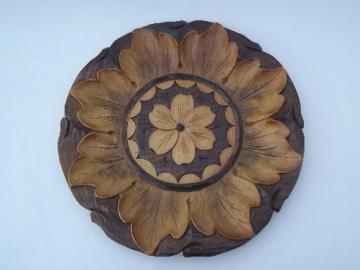 vintage carved wood plate, wooden charger from Russia or eastern Europe