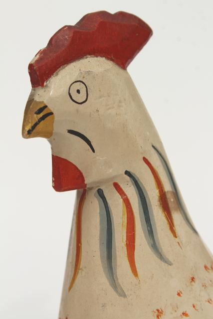 vintage carved wood rooster chicken, hand painted primitive naive folk art, southwest styl