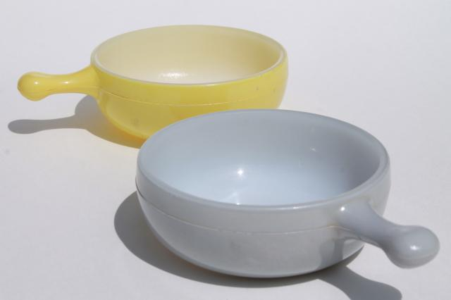 vintage casserole dishes or stick handle soup bowls, Glasbake milk ...