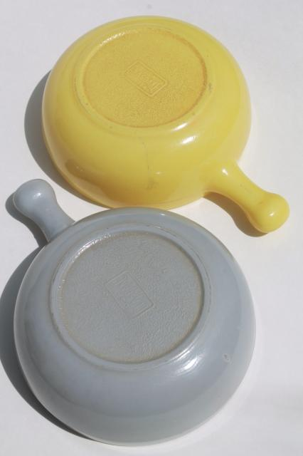 vintage casserole dishes or stick handle soup bowls, Glasbake milk glass grey & yellow