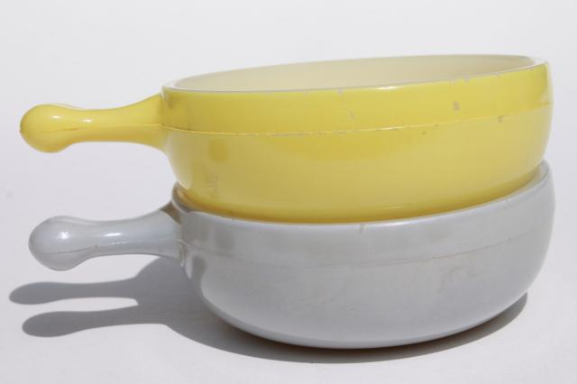 vintage casserole dishes or stick handle soup bowls, Glasbake milk ...