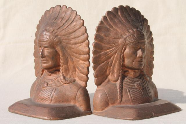 Vintage Cast Iron Bookends Native American Indian Chief