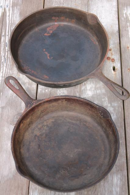 vintage cast iron cookware, large frying pan skillets or chicken fryers