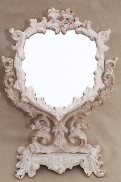 Vintage Cast Iron Frame Mirror On Stand Heart Shape Vanity Mirror W