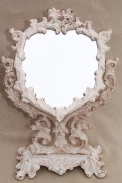 vintage cast iron frame mirror on stand, heart shape vanity mirror w/ shabby chippy paint