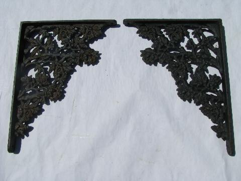vintage cast iron hardware shelves supports floral pattern corbel shelf brackets