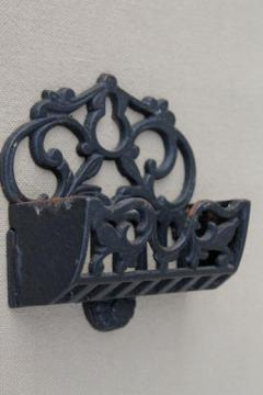 vintage cast iron match holder wall pocket, black wrought iron style metal match safe
