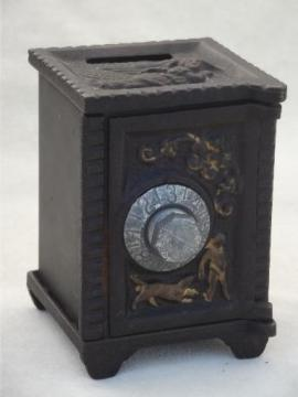vintage cast iron safe savings bank, miniature toy safe w/ 'lock'