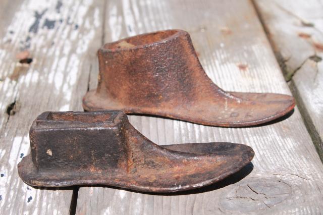 Vintage Cast Iron Shoe Last Set W Metal Foot Shape