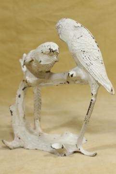 vintage cast iron stand w/ budgies parakeets, bird cage hanger hook
