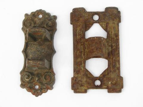 vintage cast iron wall sconce brackets & arms, antique oil lamp holders