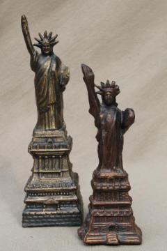 vintage cast metal architectural miniatures, Statue of Liberty figures