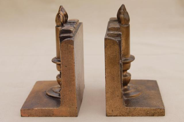 Vintage cast metal bookends w antique brass finish book candle stick stacks of books - Antique brass bookends ...