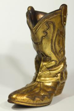 vintage cast metal cowboy boot vase rustic distressed gold finish, western southwest decor