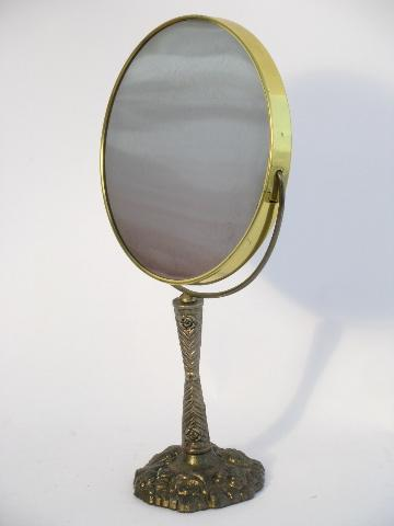 Vintage Cast Metal Magnifying Shaving Or Vanity Mirror On