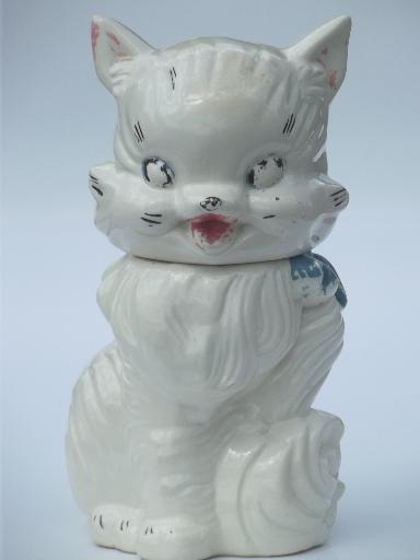 vintage cat cookie jar w/ shabby old paint, American Bisque pottery?