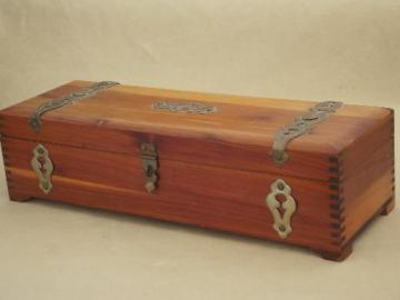 vintage cedar chest  jewelry box, a tiny trunk for treasures!
