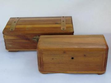 vintage cedar wood boxes, Lane minuature cedar chest jewelry box etc.