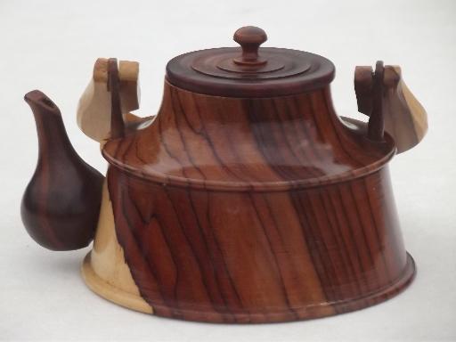 Vintage cedarwood teapot hand carved wood tea pot