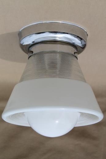 Vintage Ceiling Light Fixture W Glass Bullseye Reflector