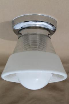 vintage ceiling light fixture w/ glass bullseye reflector shade, industrial flush mount fixture