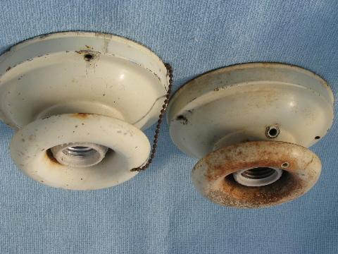 vintage ceiling light fixtures for bare electric bulbs & milk glass industrial shades