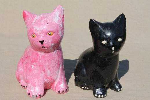 Vintage Cement Cats, Cat Figures For Door Stops, Garden Art Or Memorial  Statues