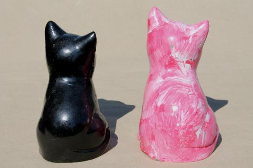 vintage cement cats, cat figures for door stops, garden art or memorial statues