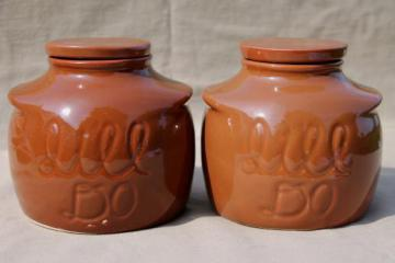 vintage ceramic bean pots or kitchen crock jars, It'll Do canisters