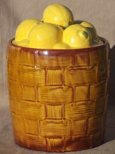vintage ceramic cookie canister jar, large brown barrel of yellow lemons