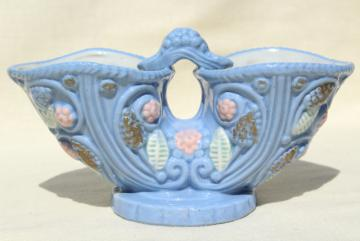 vintage ceramic double pocket tulip vase, Miyata Ware Japan sky tone blue