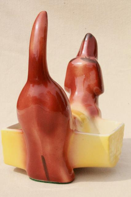 vintage ceramic doxie daschund weiner dog dresser or kitchen caddy, planter or cigarette holder?