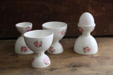 vintage ceramic egg cups, white china w/ pink roses, pretty for Easter!