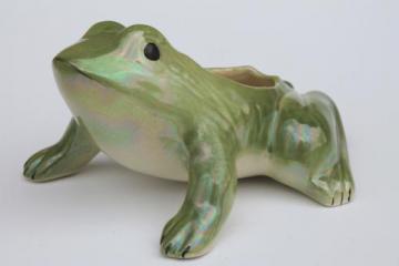 vintage ceramic frog planter, windowsill garden decor or flower pot for houseplants