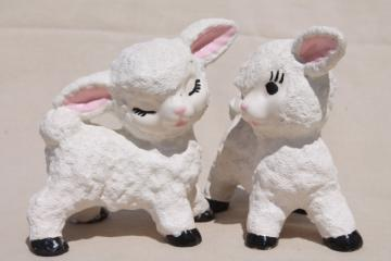 vintage ceramic lamb figurines w/ cute overload hand painted faces, wooly snow baby texture
