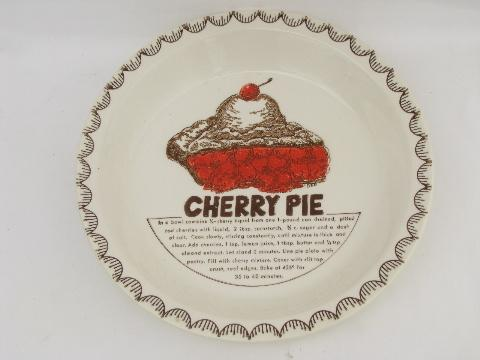 & vintage ceramic pie plate w/ Cherry Pie recipe oven safe pottery