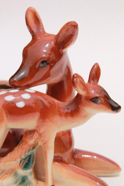 vintage ceramic planter, deer doe & fawn mother and baby, 1950s Japan china