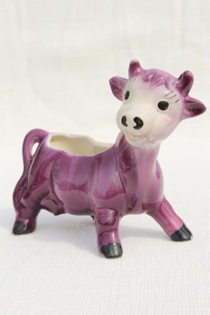 Vintage Ceramic Planter Flower Pot 50s Studio Pottery Cute Purple Cow