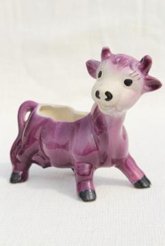vintage ceramic planter flower pot, 50s studio pottery cute purple cow figurine