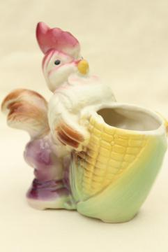vintage ceramic planter pot, painted pottery baby rooster chick puffed up w/ pride!