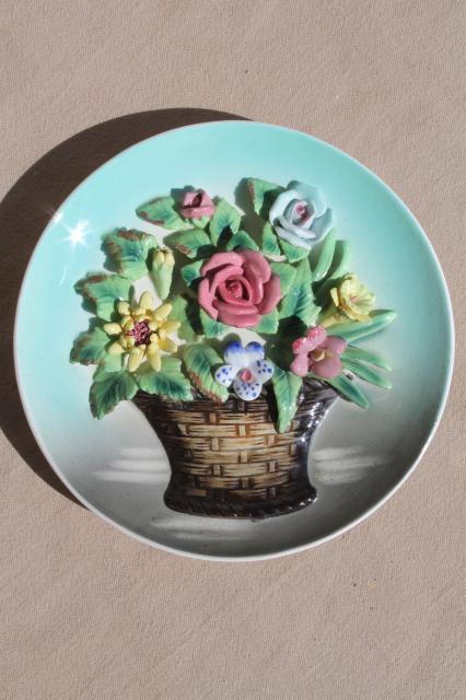 Vintage Ceramic Wall Hanging Plaque Flower Basket Plate W Little China Flowers