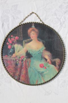 vintage chain frame round picture, wall hanging flue cover w/ pretty lady portrait