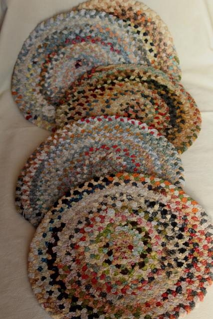 vintage chair or stool seat pads, country style braided rug mats soft chenille multi colors