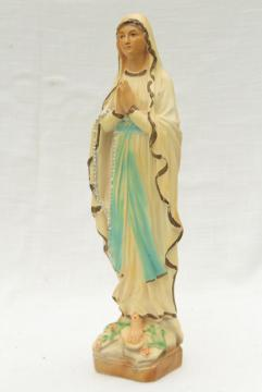 vintage chalkware Madonna religious statue, old painted plaster figure of Mary