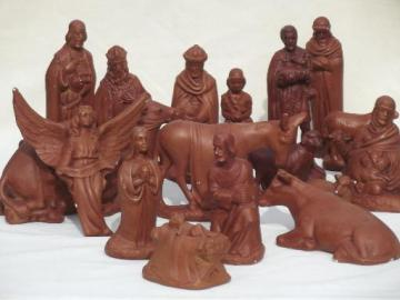 vintage chalkware Nativity set, painted plaster figures for Christmas creche