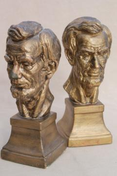 vintage chalkware bookends, bust of Abraham Lincoln plaster statuary figures