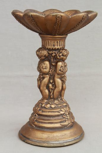 vintage chalkware candle pillar w/ gold angels, country French / Italian renaissance style