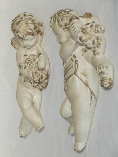 vintage chalkware cherubs pair, antique gold & white sculpture wall art