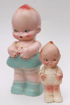 vintage chalkware kewpie baby dolls, carnival prize toy kewpies large & small